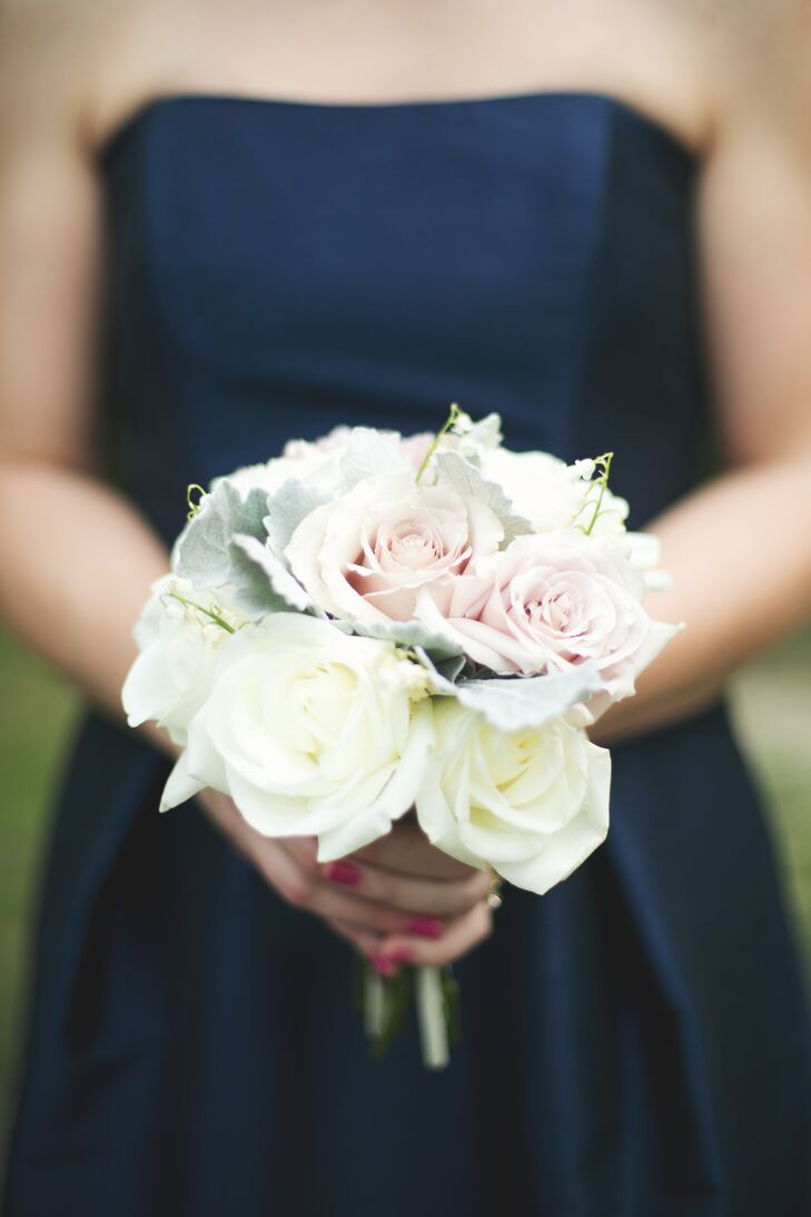 Simple White And Champagne Rose Bridesmaid Bouquet