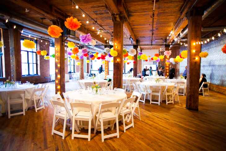 Colorful wedding reception at Dumbo Loft in New York City