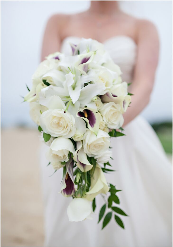 cascading rose and calla lily bridal bouquet