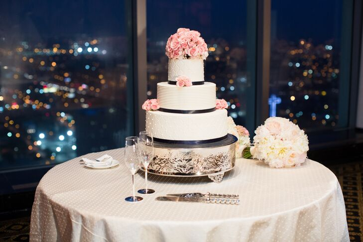 navy blue and blush pink wedding cakes modern navy and blush wedding cake 17746