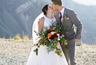 Katie and Chris Scheuch chose an antique Bavarian ski lodge wedding theme, honoring both their German heritages and love of skiing, for their pictures