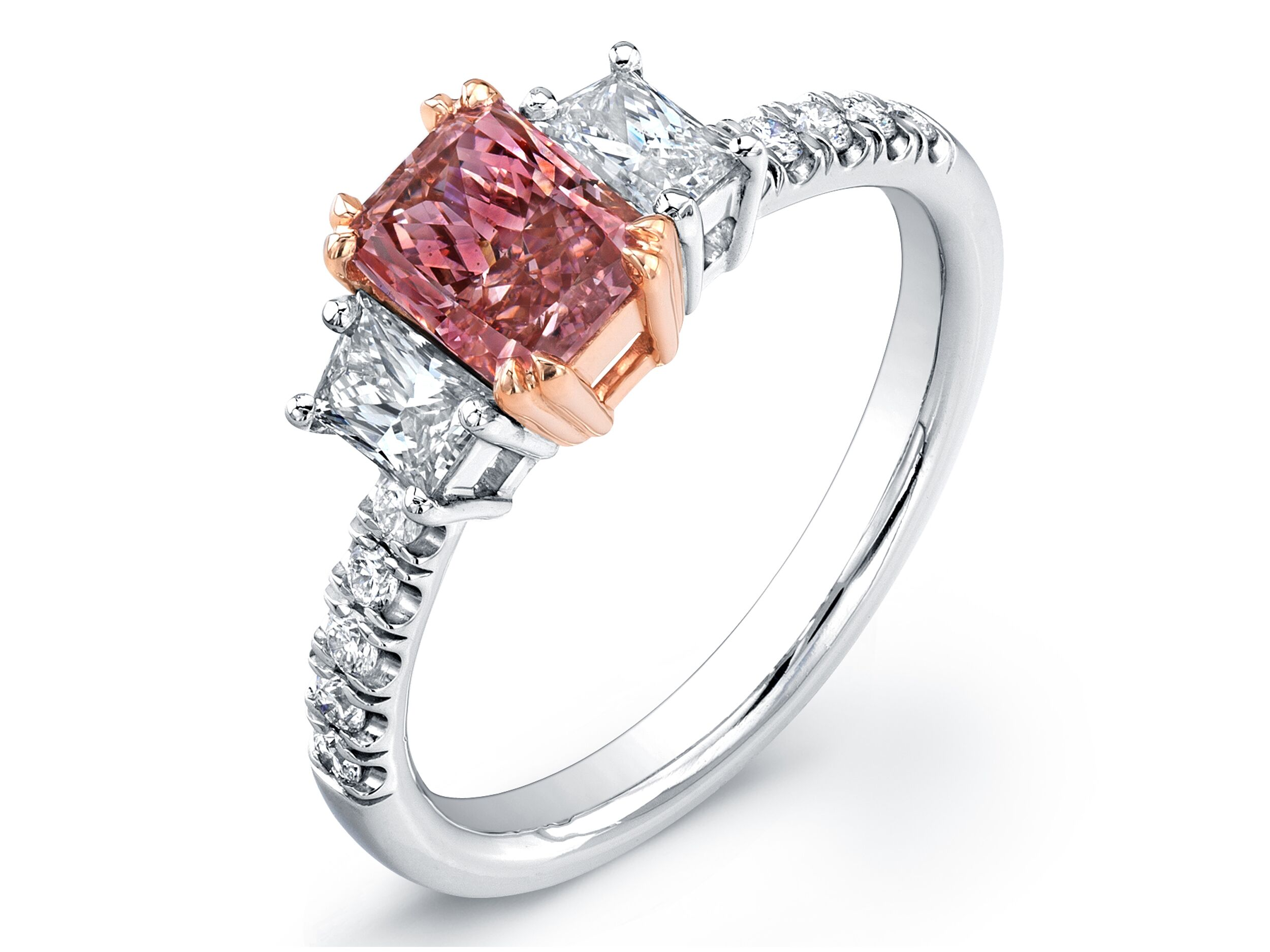 with pin stone engagement and set diamond rings radiant ring a cut light pink