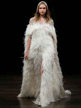 feather wedding dress with detachable feather hooded cape