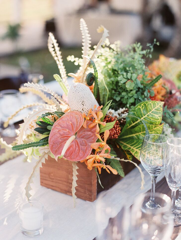 Orchid and fern tropical centerpiece