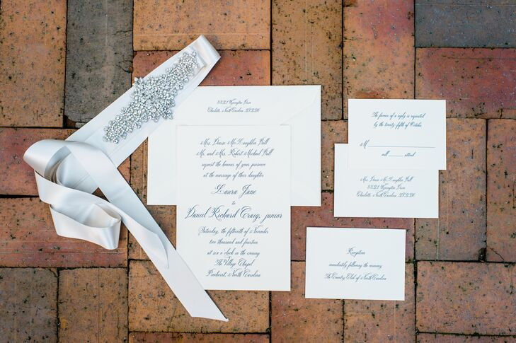 Formal Black and White Engraved Invitations