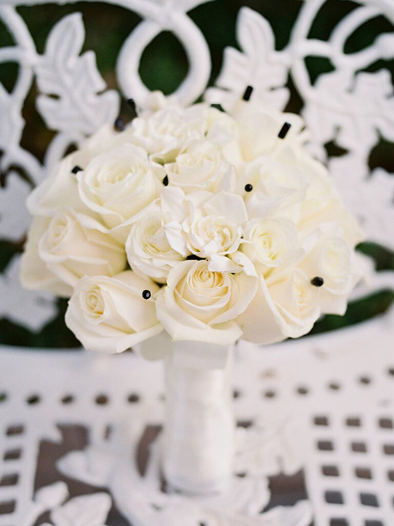 Modern White Wedding Bouquet With Black Pins