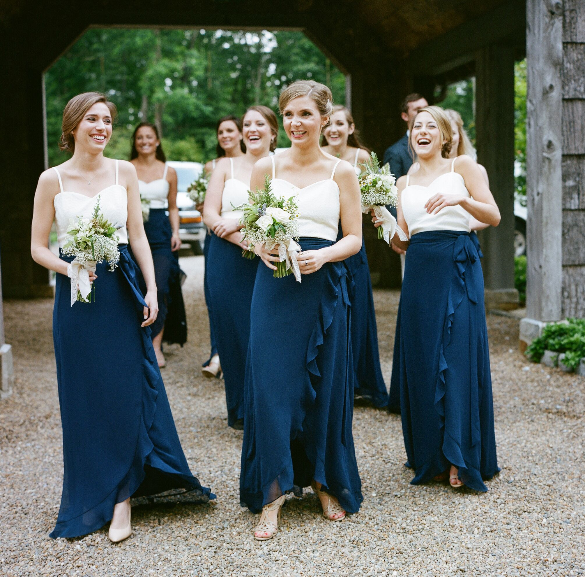 Blue bridesmaid dresses two piece navy and white joanna august bridesmaid dresses ombrellifo Images