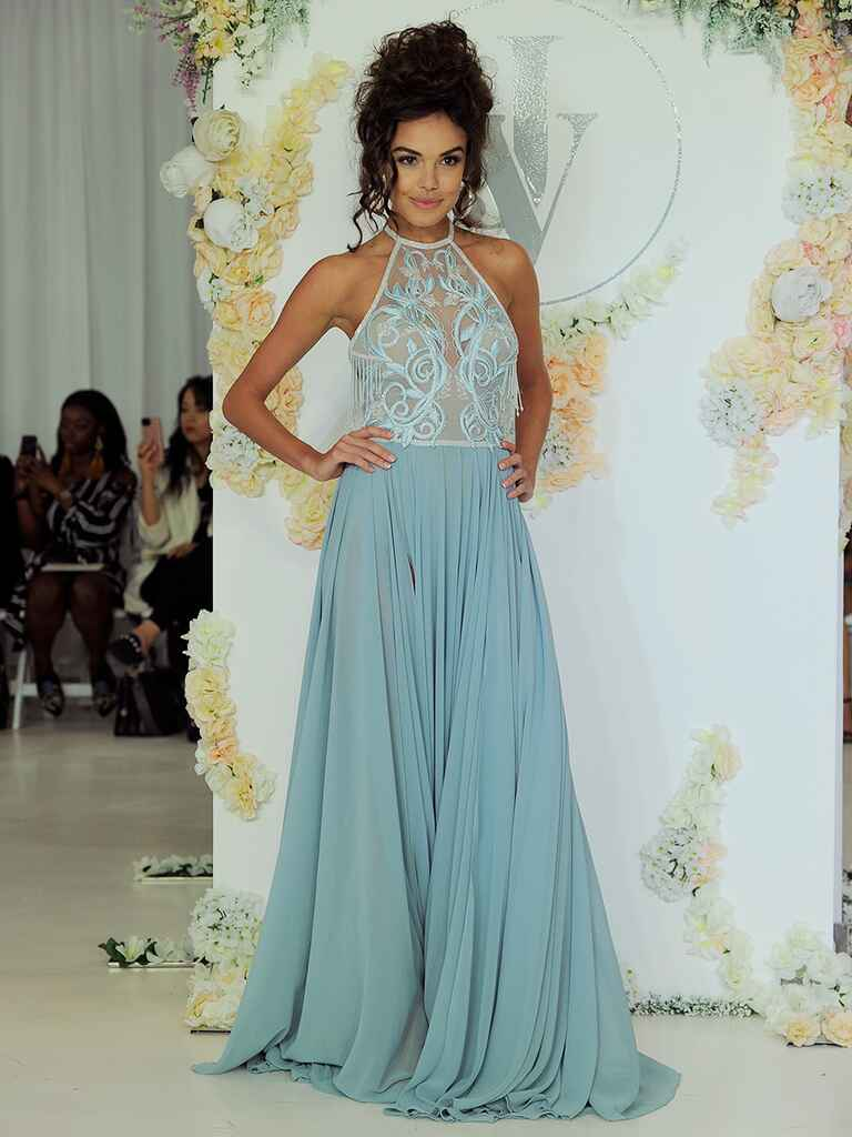 Julie Vino Fall 2018 light blue wedding dress with sheer bodice