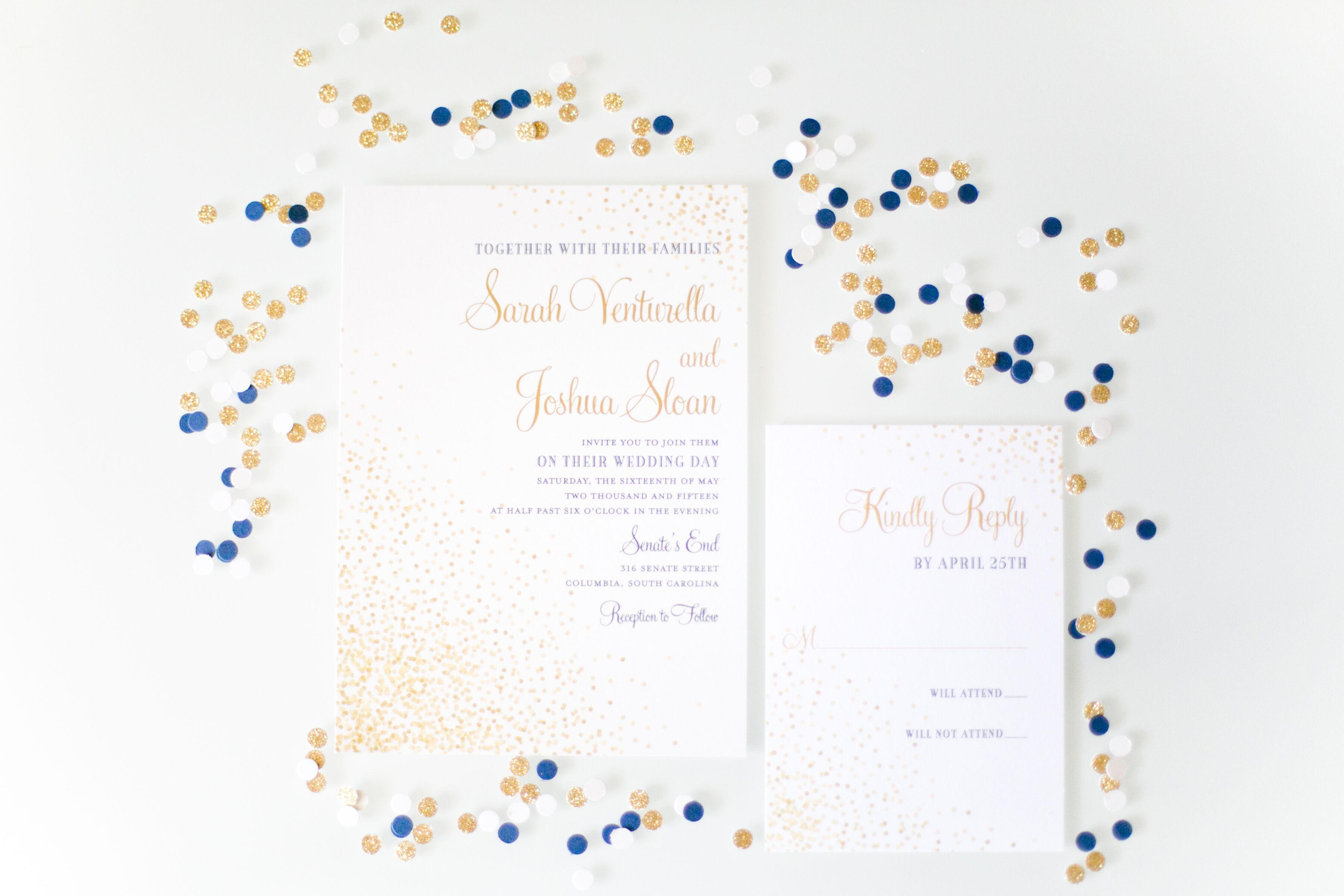 Gold-Confetti-Decorated White Wedding Invitations