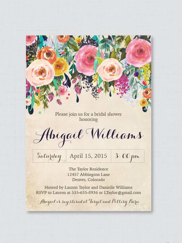 Printable bridal shower invitations you can diy floral bridal shower printable invite template diy filmwisefo