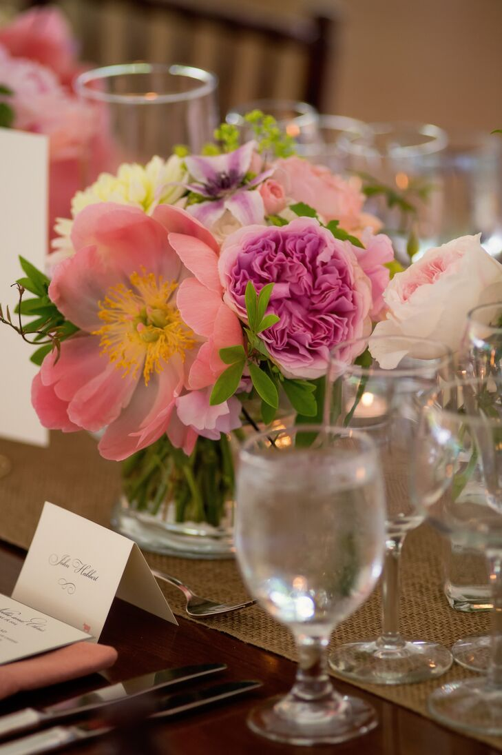 Low Pink Peony Reception Centerpiece