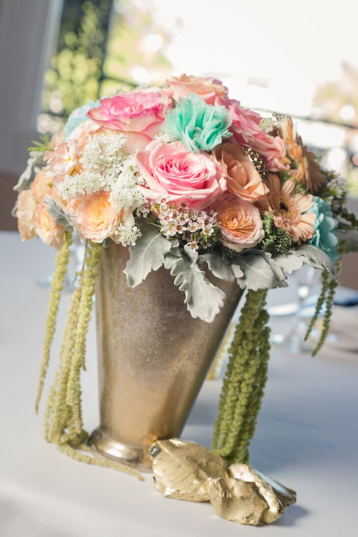 Cascading, Gold and Pastel Centerpieces