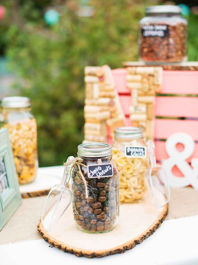 Wedding reception candy bar with DIY decor