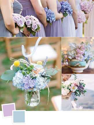 Lilac and dusty blue wedding colors