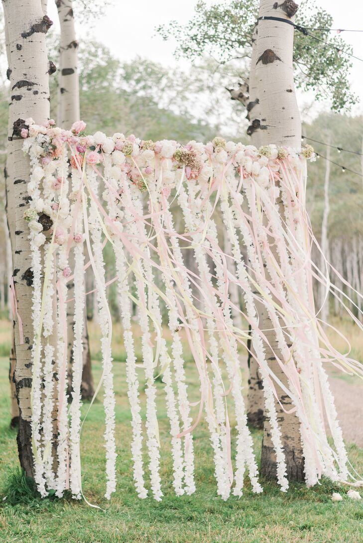 Whimsical Ribbon and Floral Garland Photo Backdrop