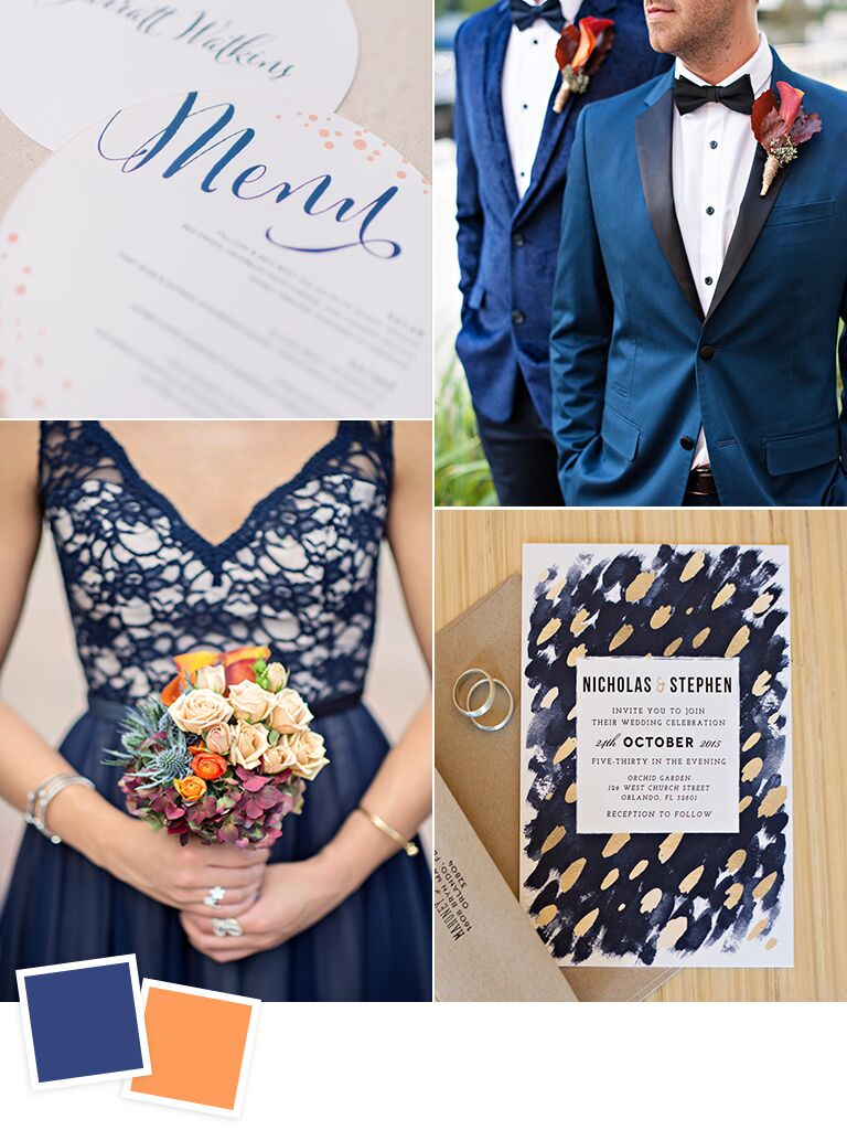 12 fall wedding color combos to steal navy and burnt orange fall wedding color ideas junglespirit Image collections