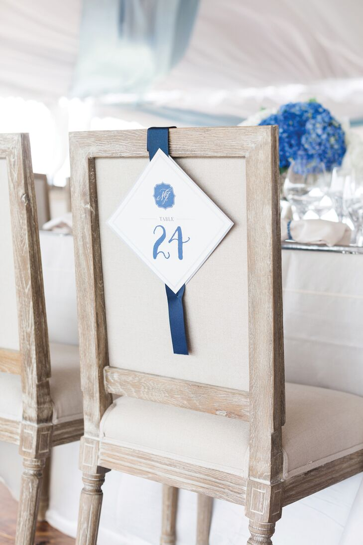 Blue and White Chair Hanging Table Numbers