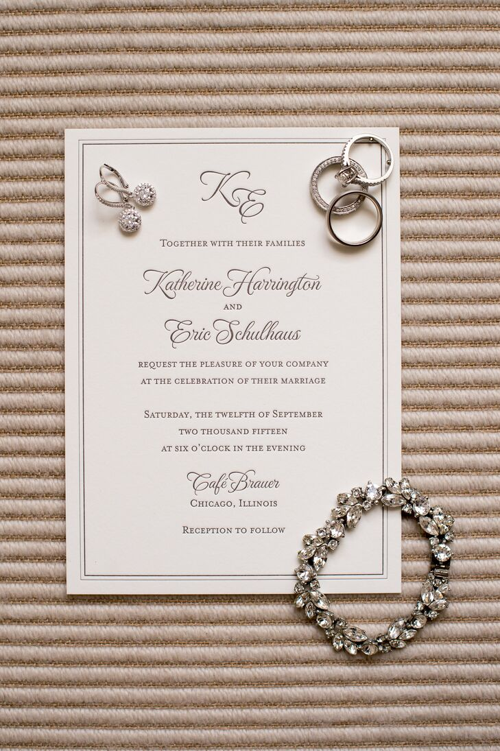 Katherine and Eric enjoyed incorporating personal touches into their custom-made wedding invitations.