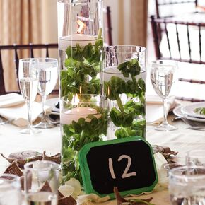 Bells Of Ireland And Candle Centerpiece