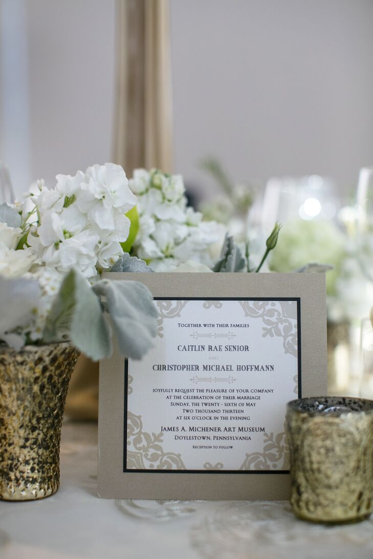 Wedding Invitations with Taupe Trim and Corner Borders