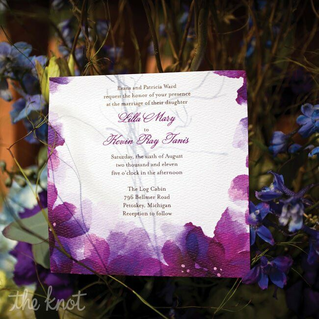 purple wedding invitations, Wedding invitations