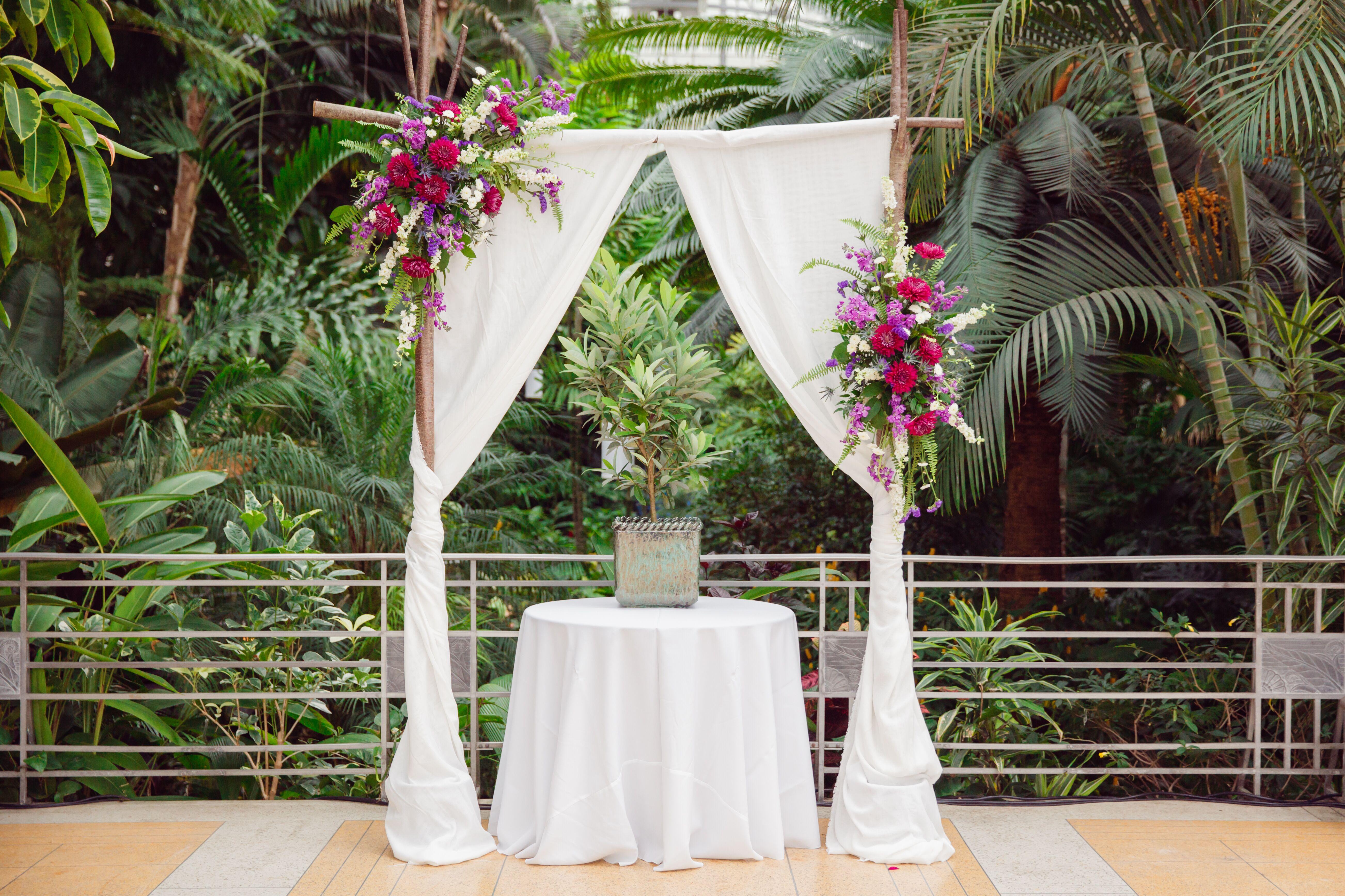 Wedding Ceremony Ideas Flower Covered Wedding Arch: Draped Wedding Arch, Flower Arrangements