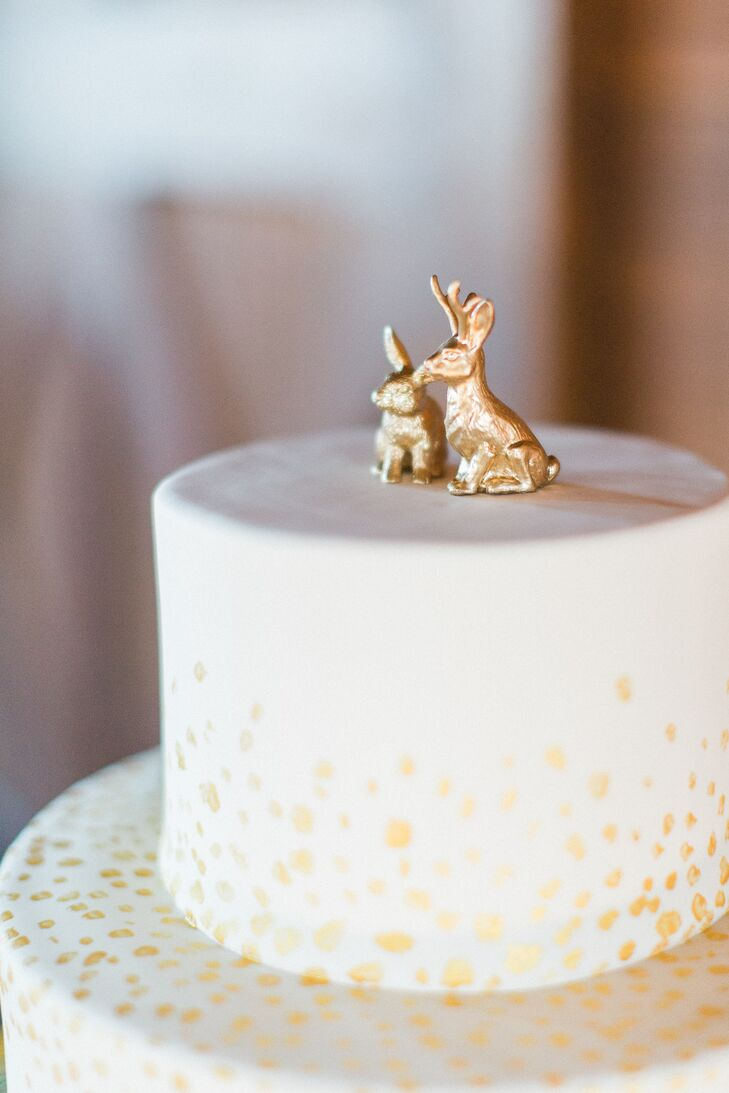 Gold Rabbit Cake Toppers