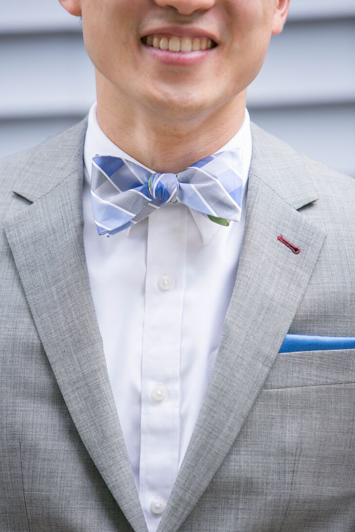 Purple And Gray Bow Tie