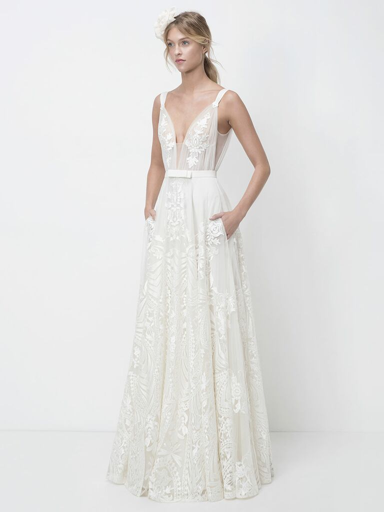 Lihi Hod Fall 2018 wedding dresses gown with plunging neckline