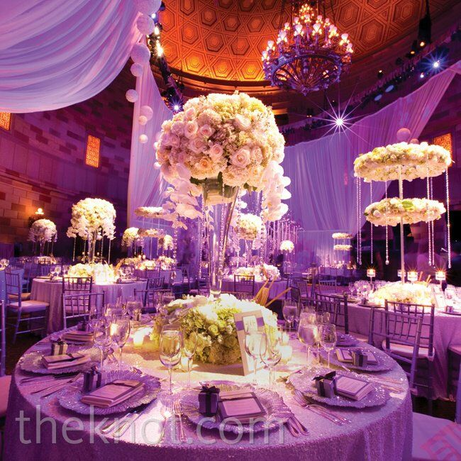 Crystal And White Wedding Theme: Tall Rose And Crystal Centerpieces