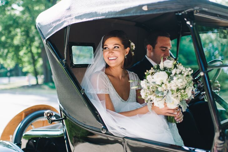 "Guests cheered as the newlyweds drove off in a restored 1924 Model-T that the groom's father inherited. ""After the ceremony, Matt drove us around our hometown and we shared some nice private time before the reception kicked off,"" Anna says."
