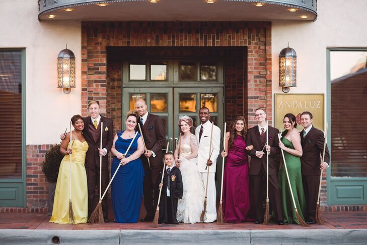 The wedding party consisted of four bridesmaids and four groomsmen, and each wore the colors of one of the four Hogwarts houses.