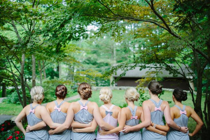bridesmaid with bow back tank tops