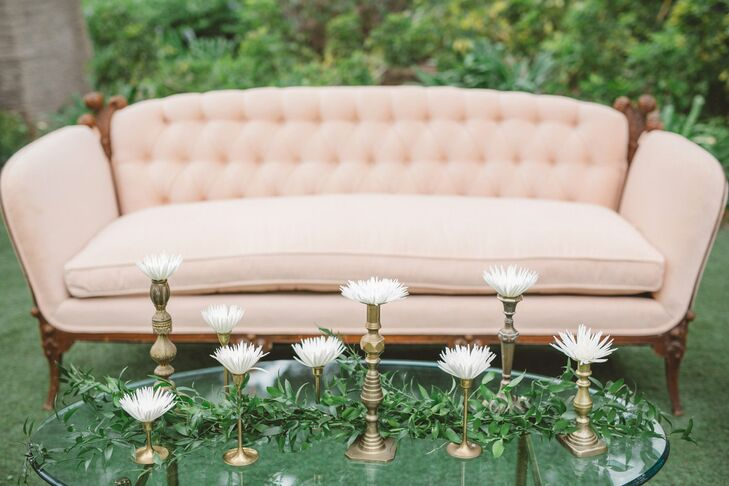 Gold Candelabra with White Chrysanthemums