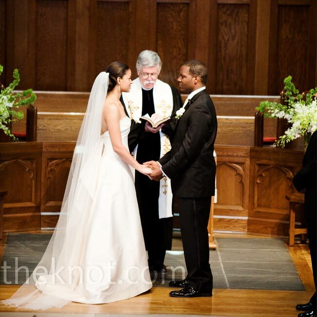 The Bride And Groom Exchanged Vows In A Traditional Church Ceremony At Western Presbyterian