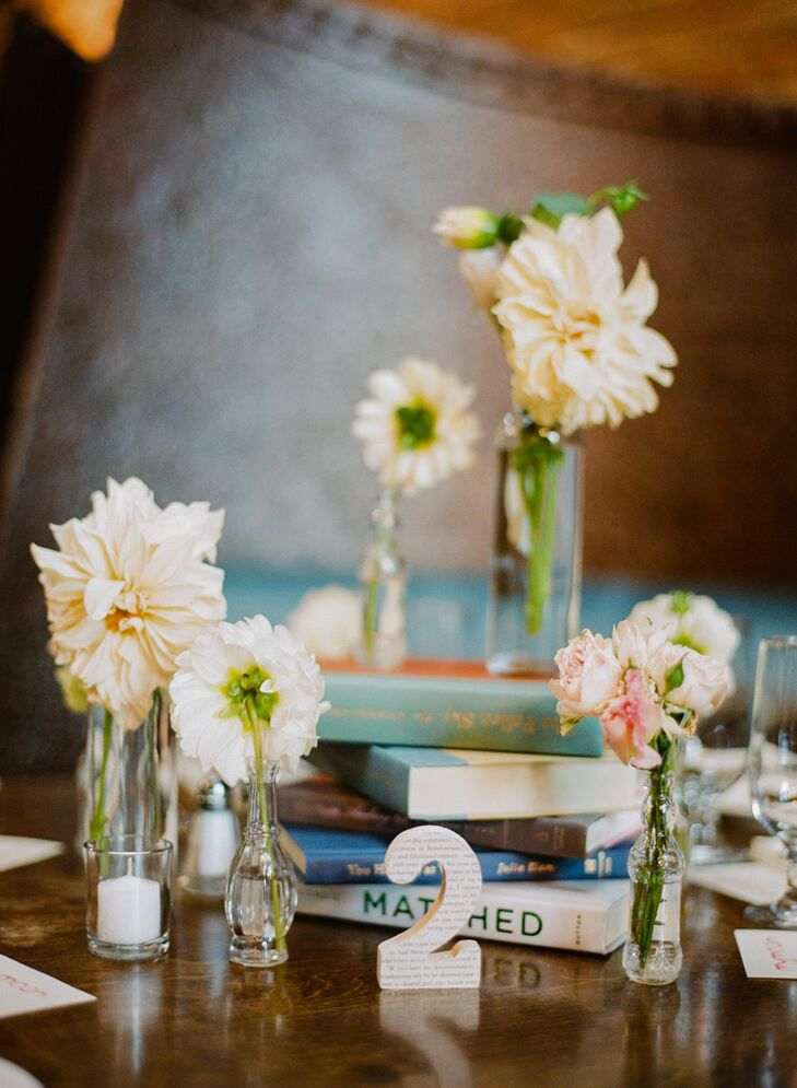 Stacked Book And Bud Vase Centerpieces