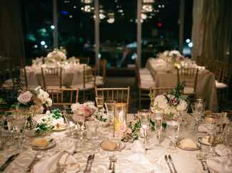 Greige and gold reception tablescape