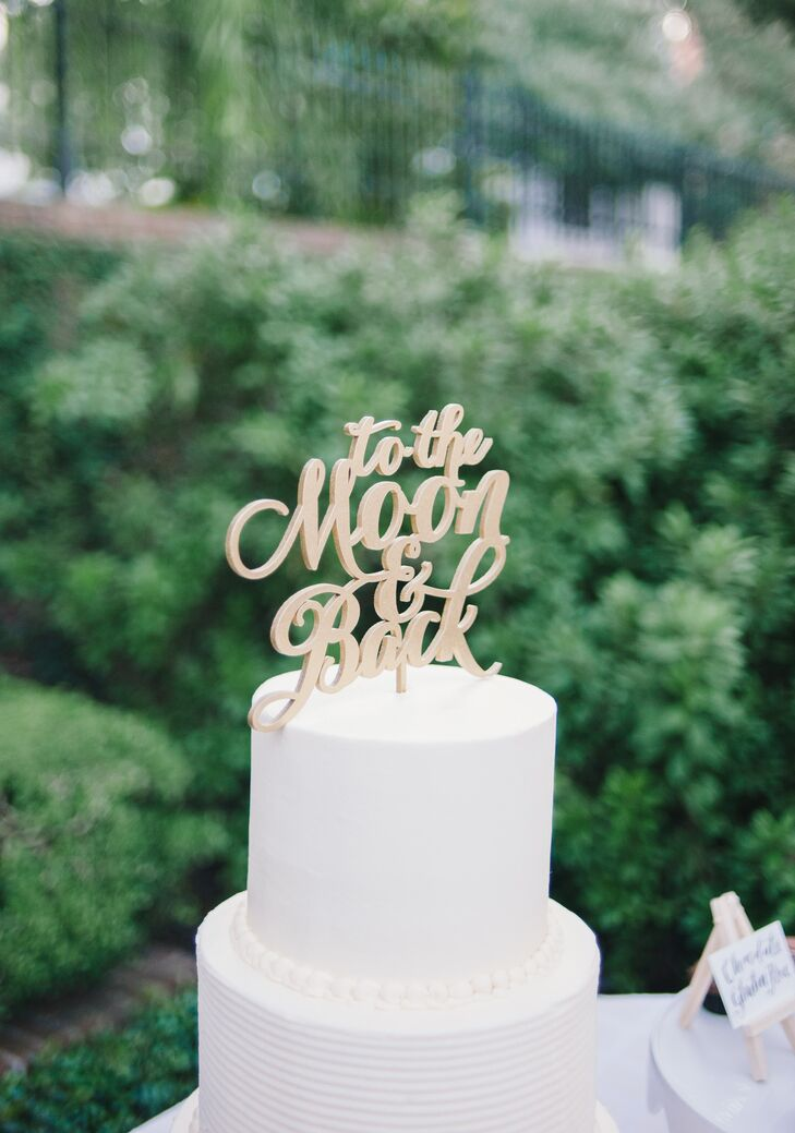 'To the Moon and Back' Gold Cake Topper