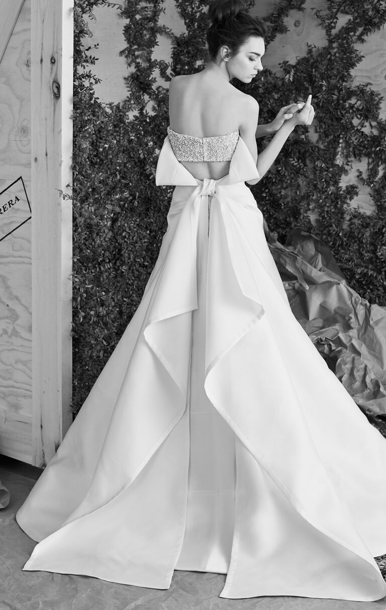 Carolina Herrera Spring 2017 Strapless Satin A Line Wedding Dress With Beaded Back Panel And