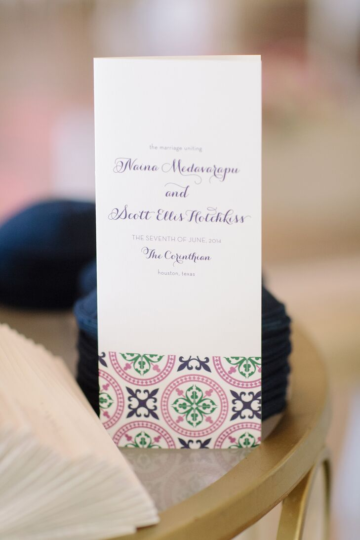 A quatrefoil motif on the invitations inspired all the custom-made paper goods by Chips & Salsa Designs. Naina wanted the wedding design to include colors and patterns, since Indian weddings are full of both. All the prints and shapes from the invitation suite continued throughout the decor.