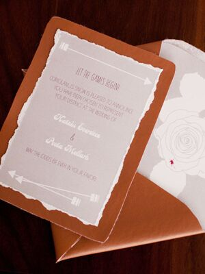 A Hunger Games Wedding Invitation. Photo By Casey Fatchett / The Knot