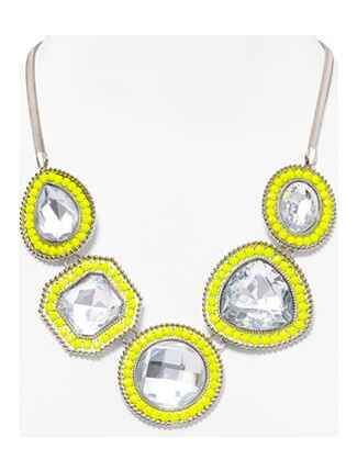 Aqua Neon Yellow Crystal Stone Necklace