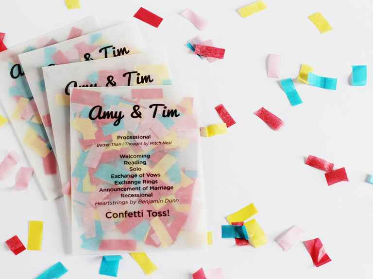 Confetti envelope ceremony program