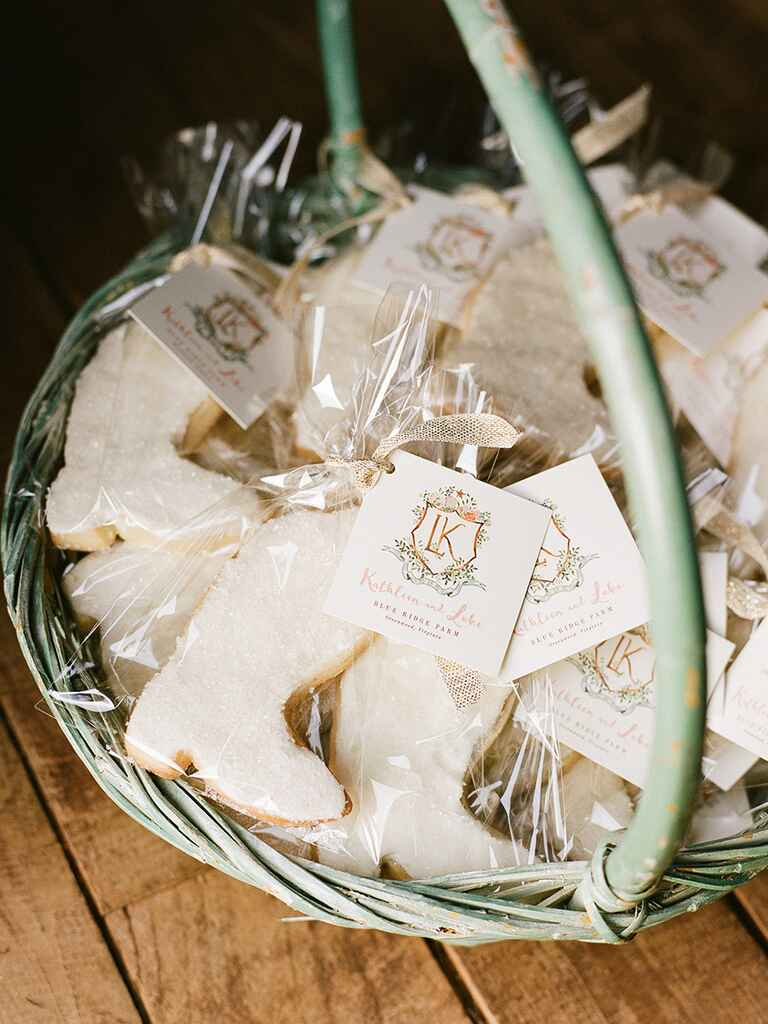 Custom shaped sugar cookies for a creative edible wedding favor idea