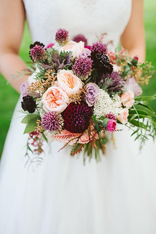 Rustic Purple Wedding Flower Arrangements