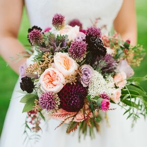 Purple Garden Rose And Dahlia Bouquet