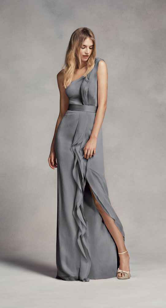 grey bridesmaid dress by White by Vera Wang