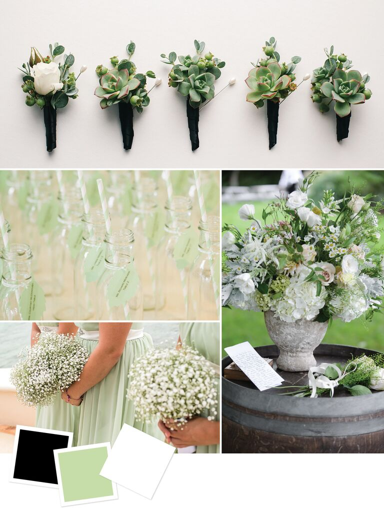 Black Pale Green White Chic And Wedding Color Combination