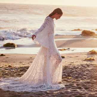 boho bride in lace wedding dress