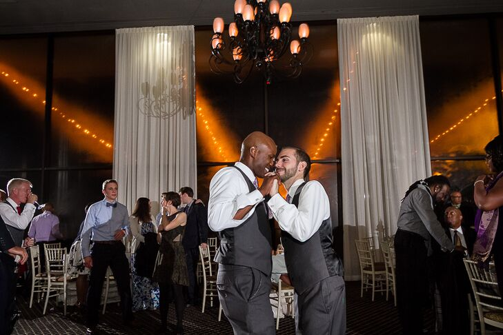 Daniel and Jamie had a dance-off at their reception with old high school pop hits.